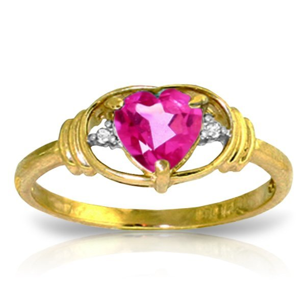 14k YG 0.95ct Pink Topaz Heart & Diamond Ring