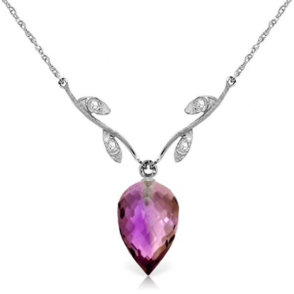 14k Gold 9.50ct Amethyst with Diamond Necklace