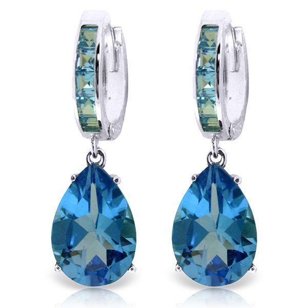 14K White Gold 12.0ct & 1.2ct Blue Topaz Huggie Earring