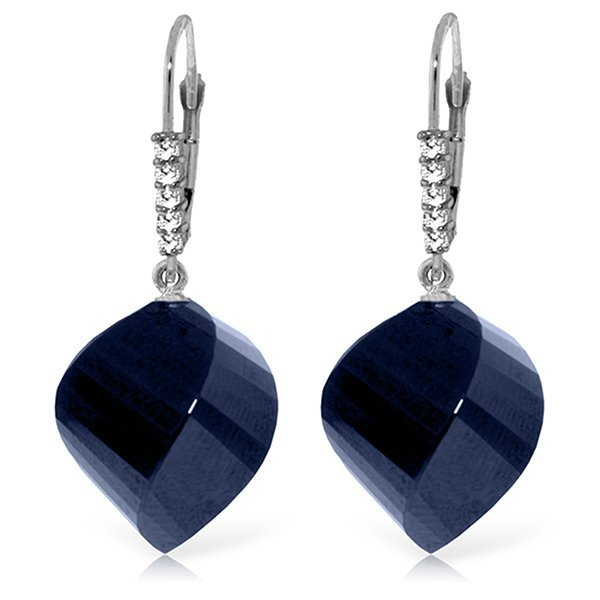 14K White Gold 30.5ct Sapphire & Diamond Earring