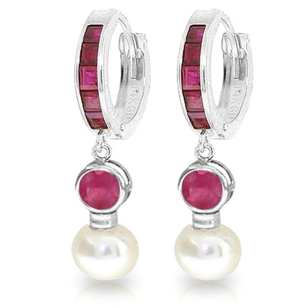 14K White Gold 2.0ct Pearl & 1.35ct 1.3ct Ruby Earring