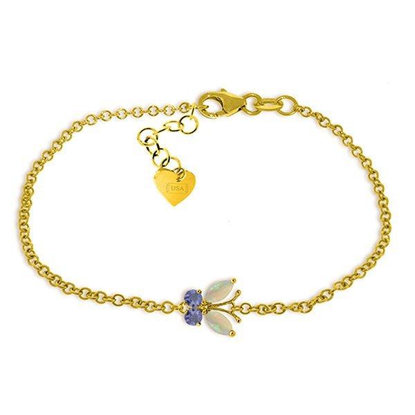 0.6ct 14k Solid  Gold Flutter Opal Tanzanite Bracelet