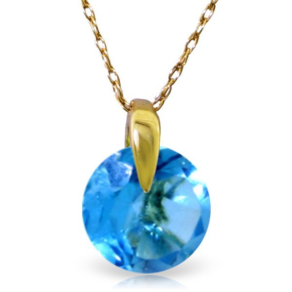 14K Solid Gold 1.00ct Round Cut Blue Topaz Necklace