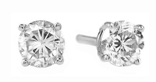 14k White Gold 0.50ct H-I, SI2, Diamond Stud Earrings