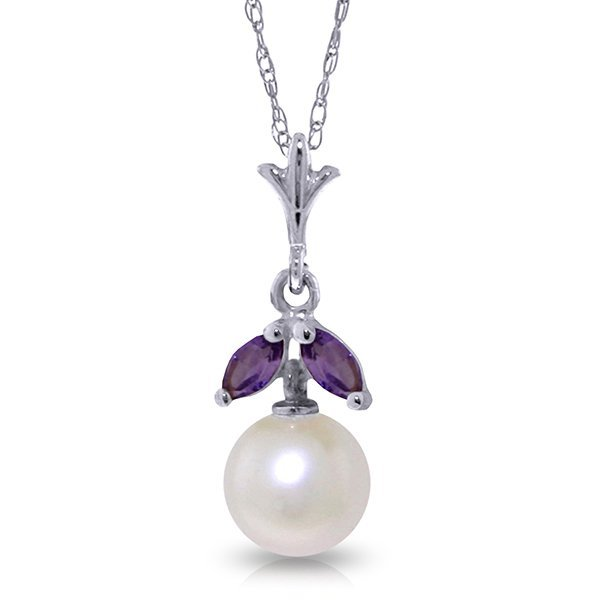 14k Solid Gold 0.20ct Amethyst & Pearl Necklace