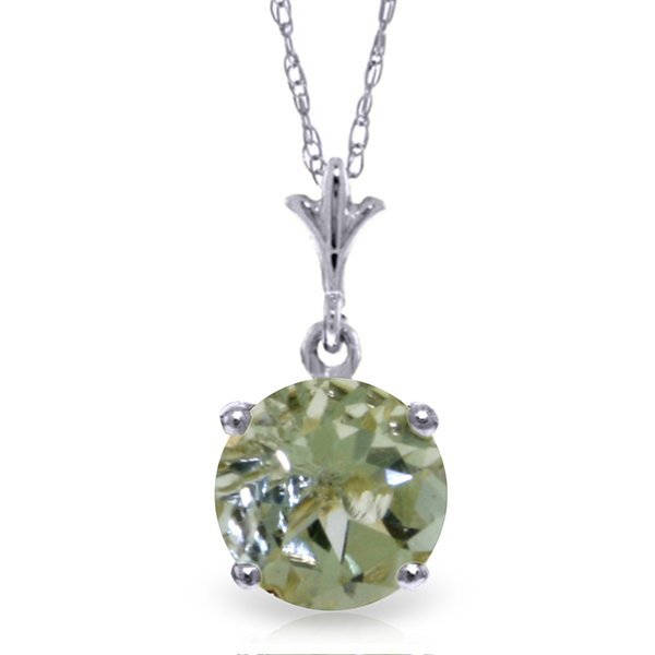 14k Solid Gold 1.15ct Green Amethyst Necklace