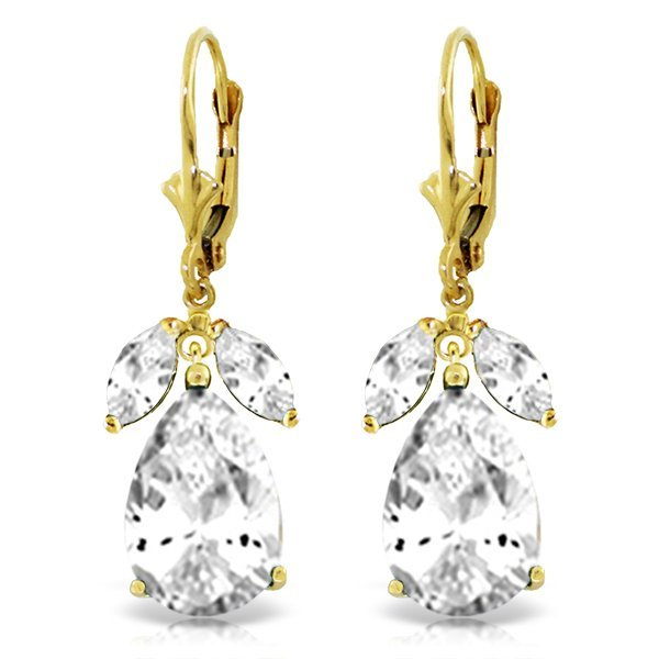 14K Solid Gold 12.0ct & 1.0ct White Topaz Earring