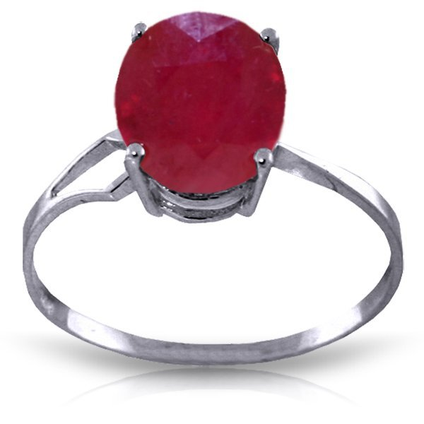 14K White Gold 3.5ct Oval Ruby Ring