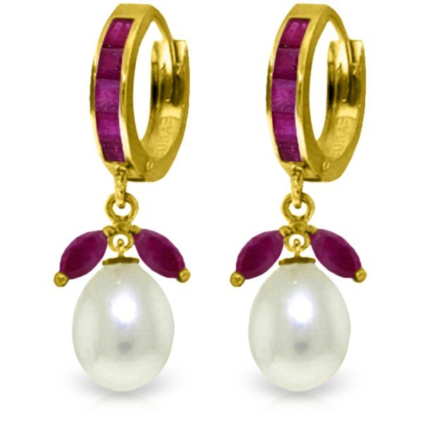 14K Solid Gold 8.0ct Pearl & 1.3ct 1.0ct Ruby Earring