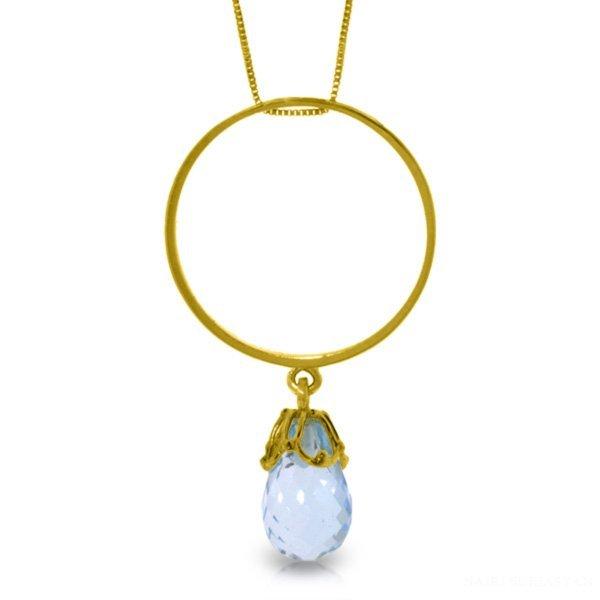 14K Solid Gold 3.00ct Briolette Blue Topaz Necklace