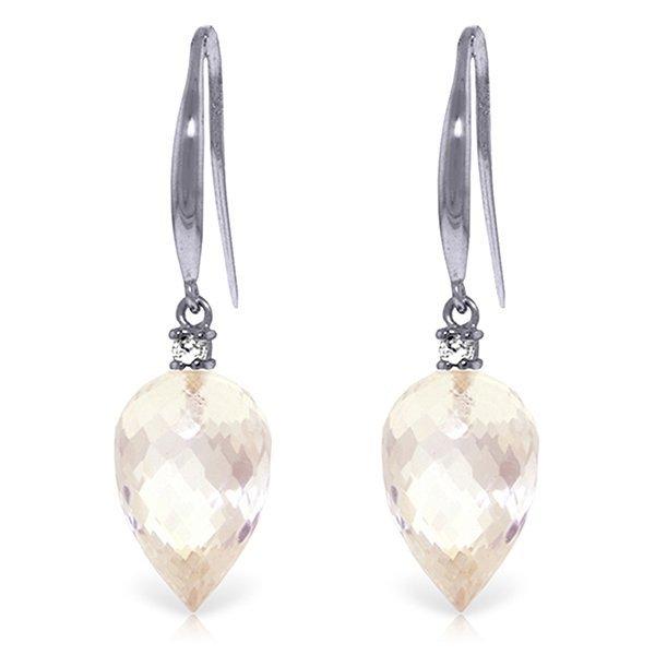 14k WG 24.50 White Topaz & Diamond Earrings