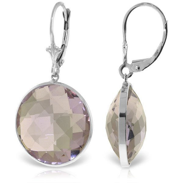 14K White Gold 36.0ct  ROUND Amethysts EARRING