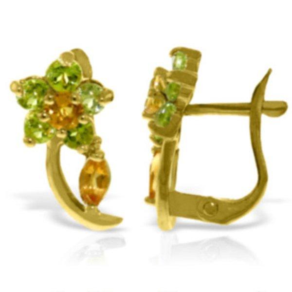 14k White Gold Citrine & Peridot Flower Earrings