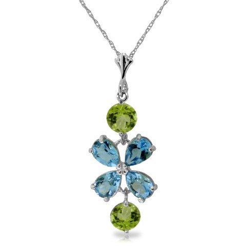 14k WG 2.15ct Blue Topaz &1.0ct Peridot Flower Necklace