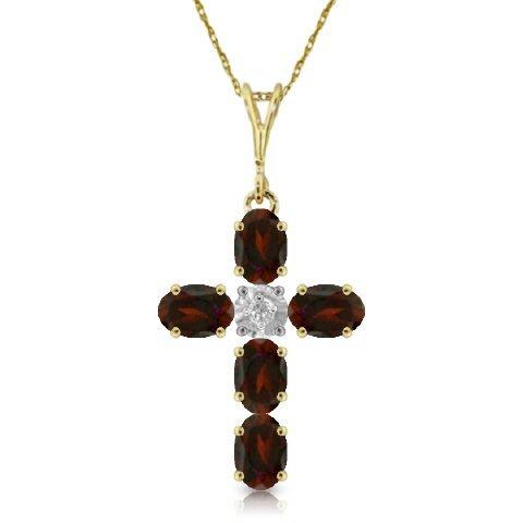 14k YG 1.73ct Garnet & 0.15ct DIAMOND Cross Necklace