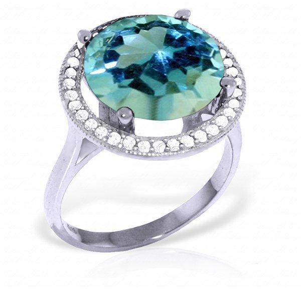 14K White Gold 7.8ct Blue Topaz & Diamond Ring