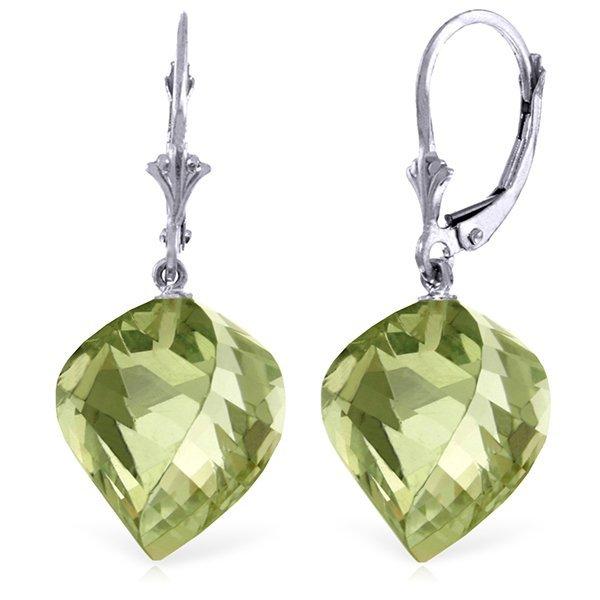 26ct Spiral Green Amethyst Dangle Earrings in 14k Gold