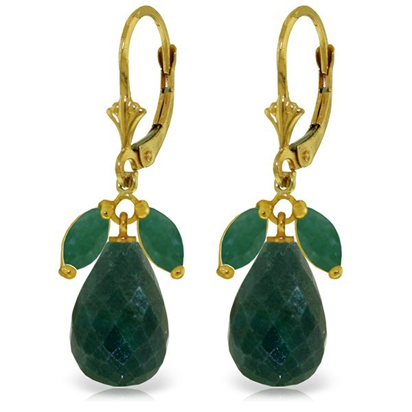 14K Solid Gold 17.6ct & 1.0ct Emerald Leverback Earring