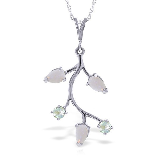 14k Solid Gold Opal & Aquamarine Necklace