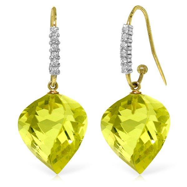 14K Solid Gold 21.5ct Quartz Lemon & Diamond Earring