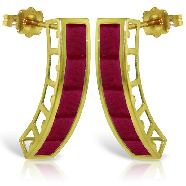 14K Solid Gold 5.0ct Ruby Push Back Earring
