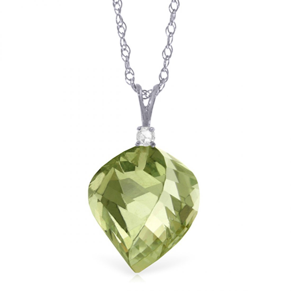 14k Gold 13.0ct Green Amethyst with Diamond Necklace