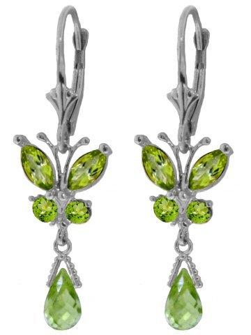 14k Solid Gold Peridot Butterfly Earrings