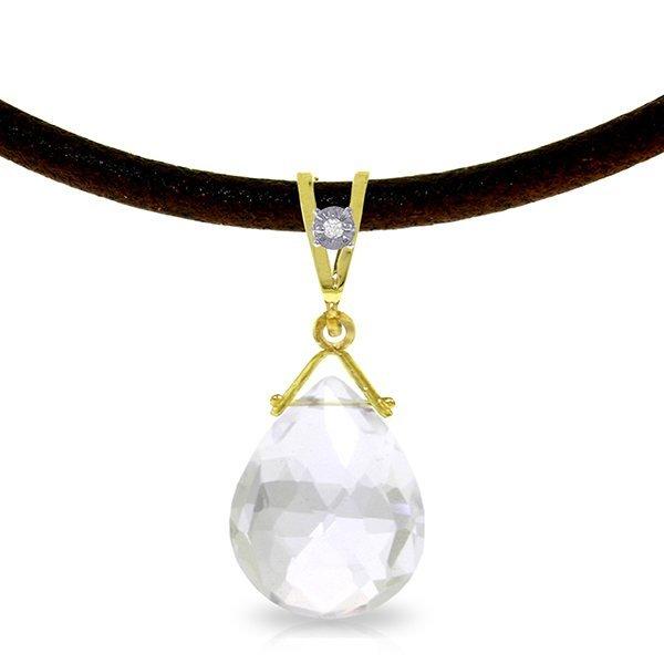 14K Solid Gold 6.50ct White Topaz & Diamond Necklace