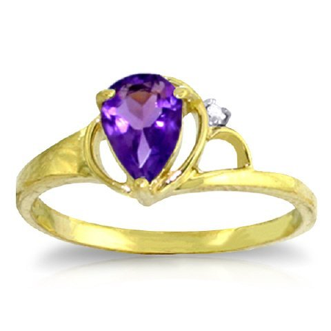 14k YG 0.65ct Amethyst with Diamond Accent Ring