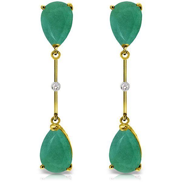 14K Solid Gold 15.0ct Emerald & Diamond Earring