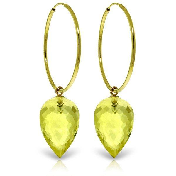 14K Solid Gold 18.00ct Briolette Lemon Quartz Earring