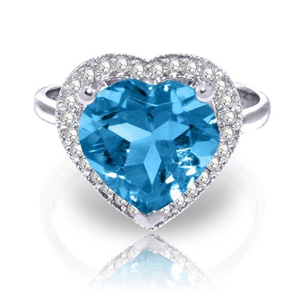 6.44ct 14k White Gold Ring Diamond Heart Blue Topaz