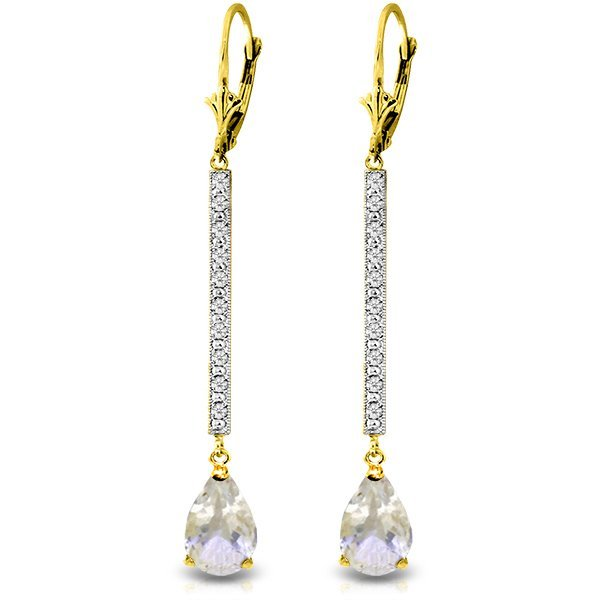 14k Solid Gold 3.50ct White Topaz & Diamond Earrings