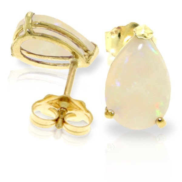 14K YELLOW GOLD 1.55ct PEAR OPAL STUD EARRING