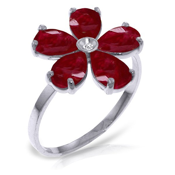 14K White Gold 2.2ct Ruby & Diamond Flower Ring