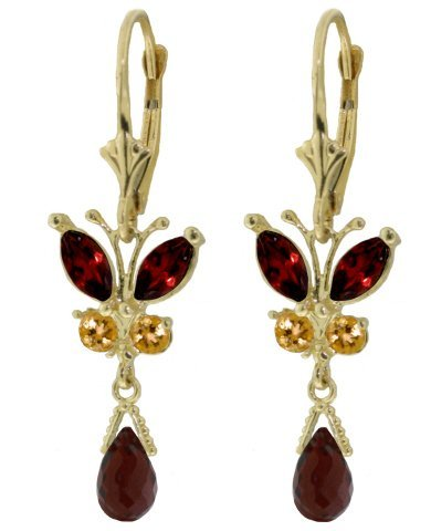 14k Solid Gold Garnet & Citrine Earrings