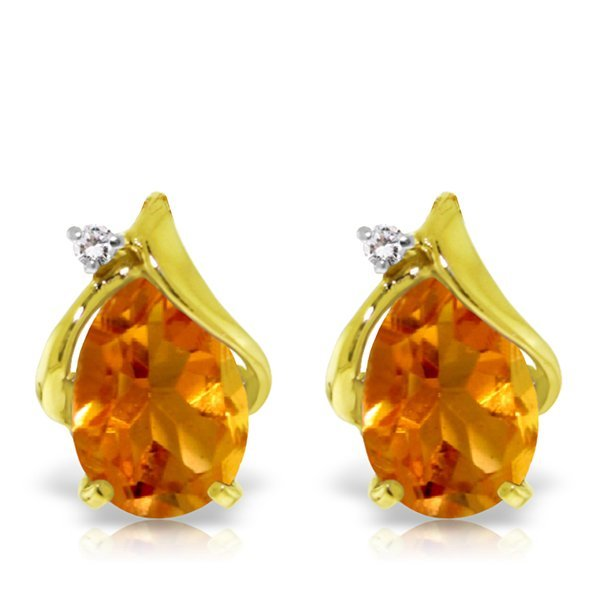 14K YG DIAMOND & 3.20ct PEAR CITRINE STUD EARRING