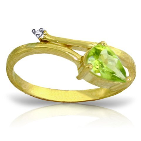 14k Solid Gold 0.82ct Peridot & Diamond Ring