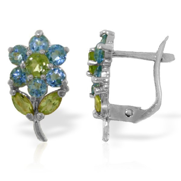 14k WG 1.5ct Blue Topaz & .32ct .30ct Peridot Earring