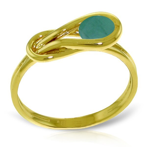 14K Solid Gold .65ct Round Emerald Infinty Ring