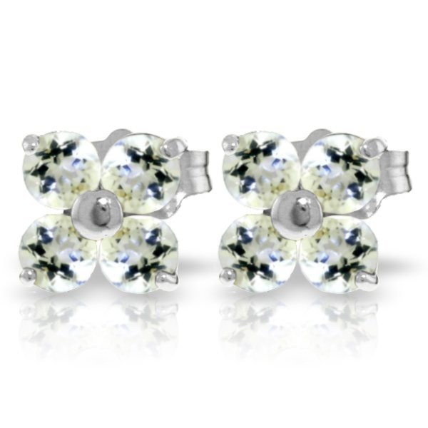 14K White Gold 1.15ct Round Tanzanite Stud Earring