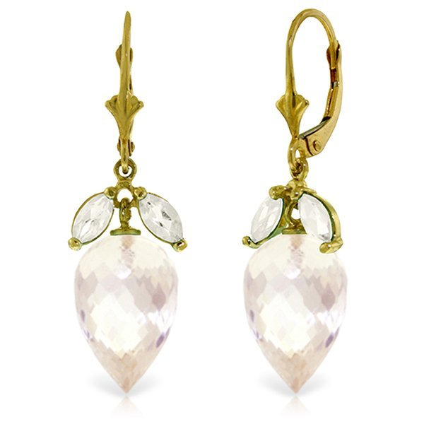 14K Solid Gold 24.5ct & 1.0ct White Topaz Earring