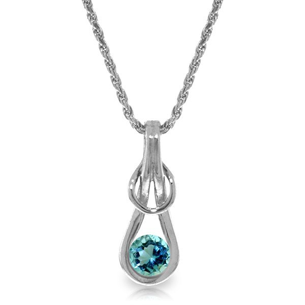 14K White Gold .65ct Round Aquamarine Infinity Necklace