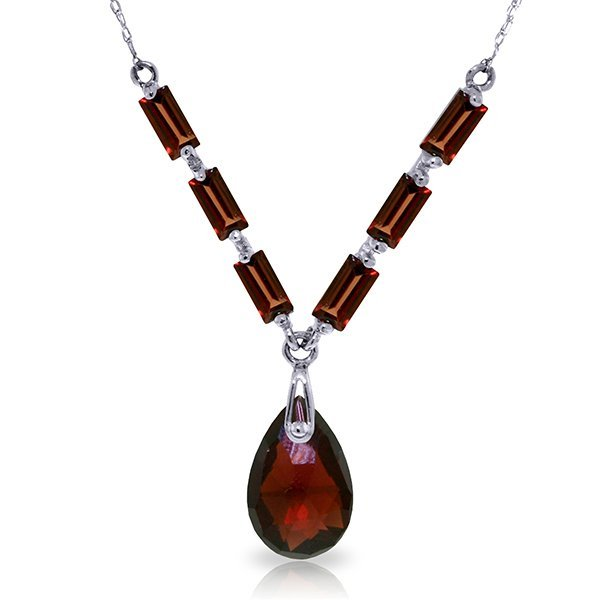 14K White Gold 3.0ct & 1.35ct Garnet Necklace