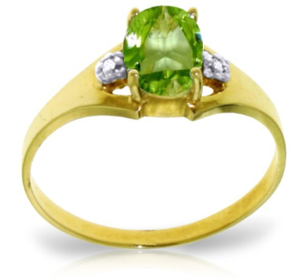 14K Solid Gold .75ct Oval Peridot & Diamond Ring