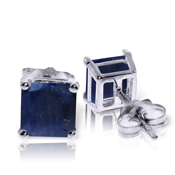 14k WG 2.90ct Sapphire Princess Stud Earrings