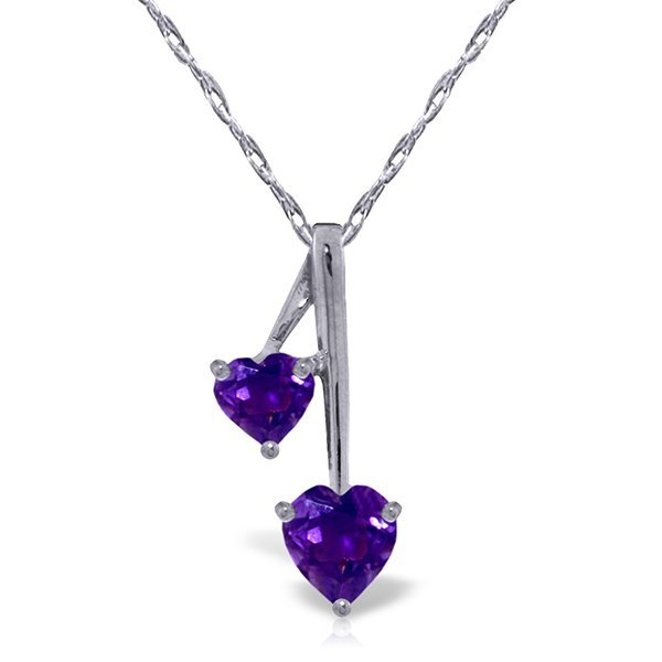 14k Solid Gold Amethyst Hearts Necklace