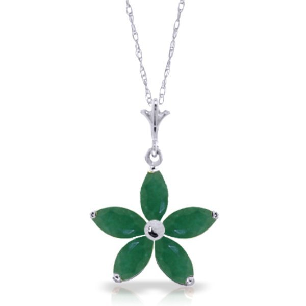 14k White Gold 1.40ct Emerald Flower Necklace