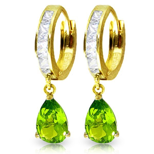 14K Solid Gold 2.90ct Peridot & White Topaz Earring