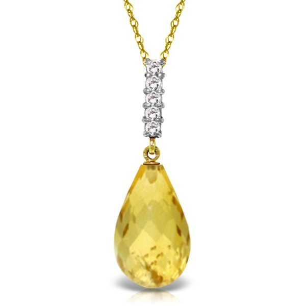 14K YG DIAMOND & 5.00ct DROP CITRINE NECKLACE